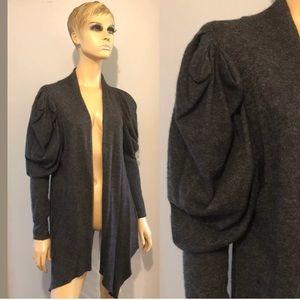 Gray Angora Wool Nylon Puffy Sleeve Cardigan